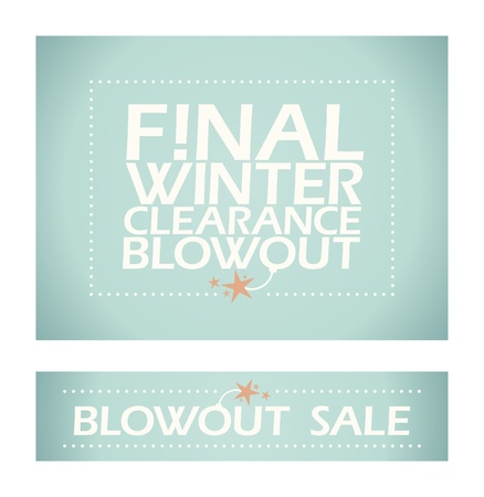 clearance sale: Final winter clearance banners in retro style