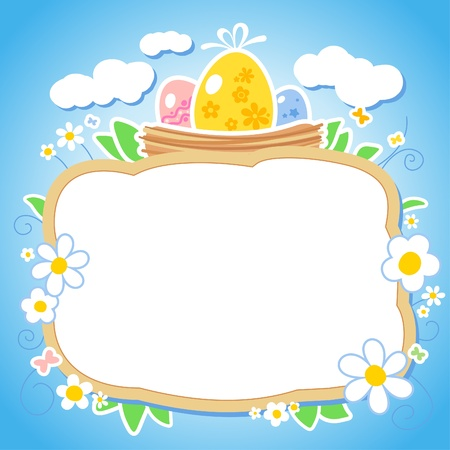 pasch: Easter design template with place for photo or text. Illustration