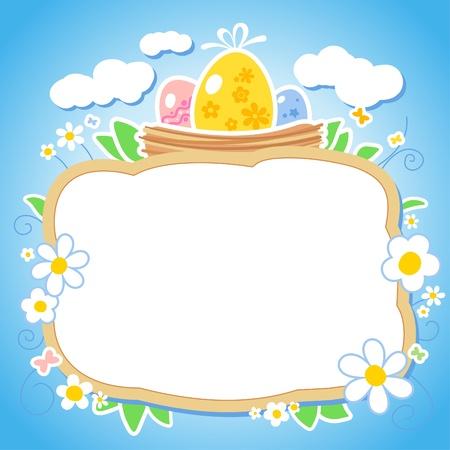 pasch: Modello di progettazione di Pasqua con il posto per foto o testo.
