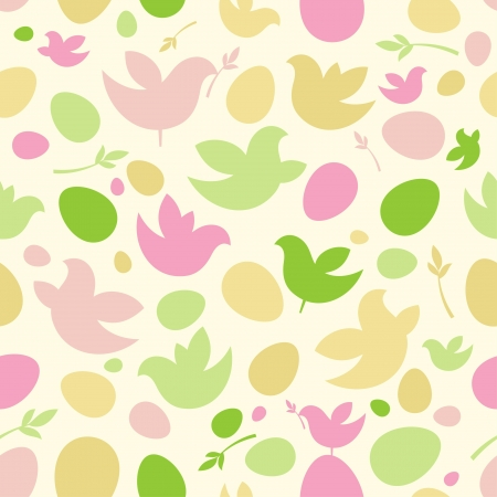 Happy Easter pattern with birds and eggs. Vector