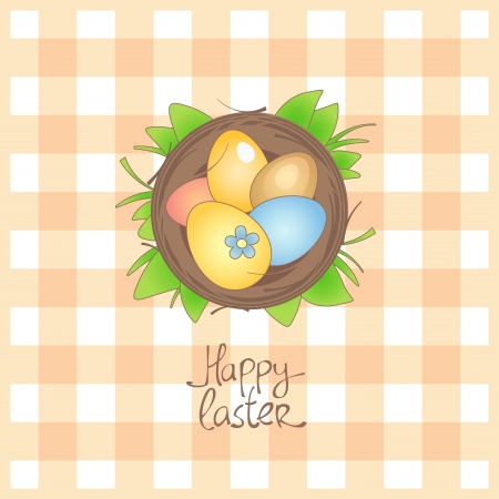 Happy Easter card with basket and eggs. Vector