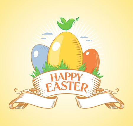 Happy Easter retro design template. Vector
