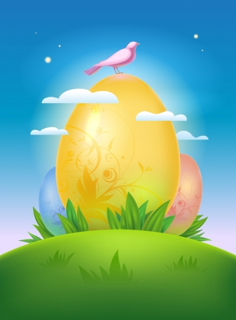Happy Easter design template with morning landscape and eggs  Eps10  Vector