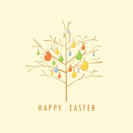 Easter tree card template Stock Vector - 18393550
