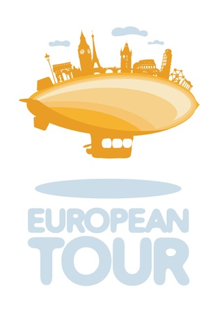 European tour symbol with airship  Vector