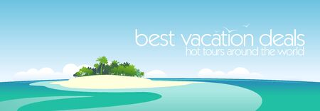 Best vacation deals design template with tropical island and place for text  Vector