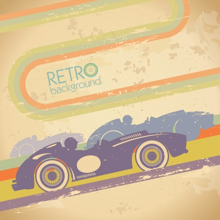 Grunge design with retro sports car and place for text  Иллюстрация