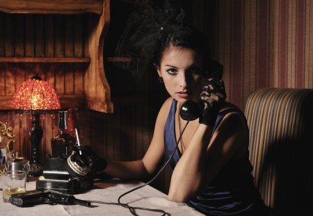 gangster girl: Woman portrait  in retro style with phone and cigarette