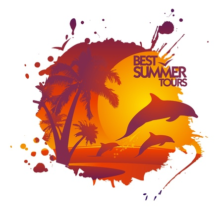 Best summer tours design template in form of blot with dolphins at sunset. Vector
