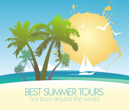 Best summer tours design template with tropical island and yacht. Vector