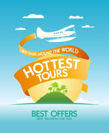 Hottest tours around the world design template with airplane and tropical island. Vector