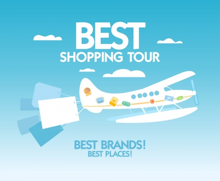 Best shopping tour design template with airplane and paper bags. Vector