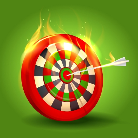 Burning target design on green background.  Vector