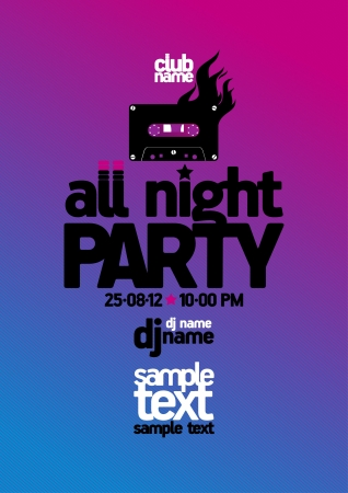 pop star: All Night Party design template with place for text. Illustration
