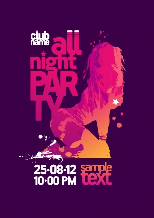 All Night Party design template with fashion girl and place for text. Vector
