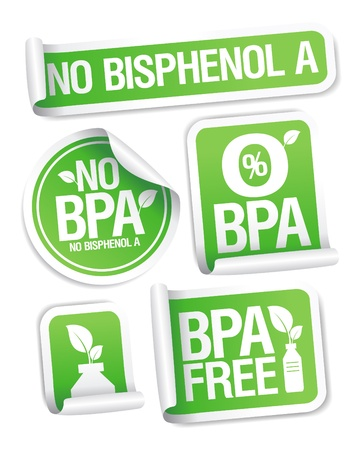 Bisphenol A (BPA) free products stickers set. Vector