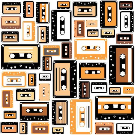 Cassette tape seamless pattern. Vector