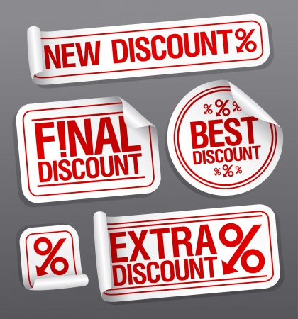 ollection: Best discount sale stickers set. Illustration