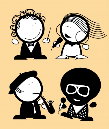 vocalist: Set of singers funny people icons. Illustration