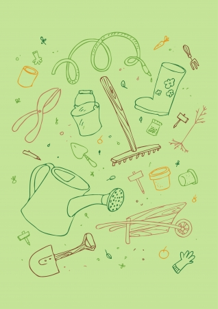 illustraition of cartoon garden tool, hand drawn design set. Vector