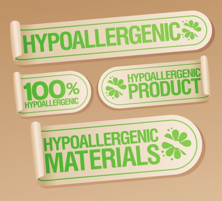 Hypoallergenic products stickers set. Vector