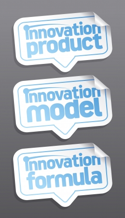 new and improved: Innovation products speech bubbles set.