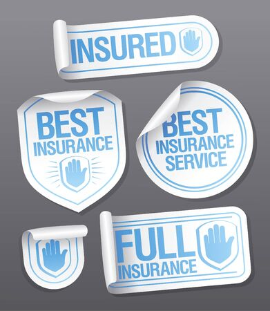 ollection: Best insurance service stickers. Illustration