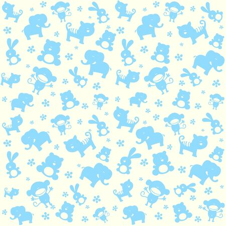 Child seamless pattern with cute animals. Vector