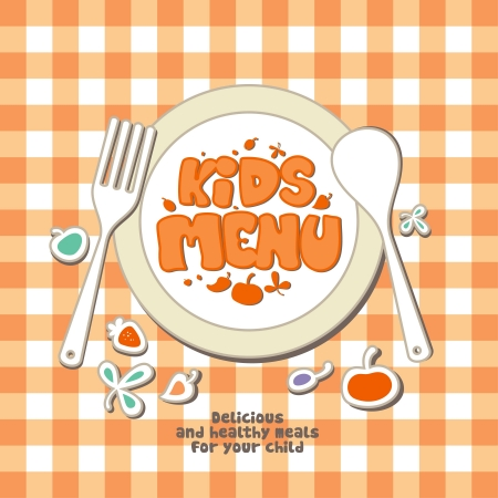 kids eating: Kids Menu Card Design template.
