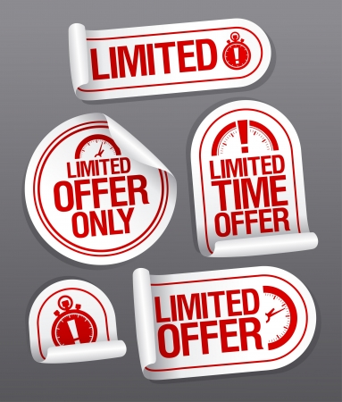 Limited offer sale stickers set. Vector