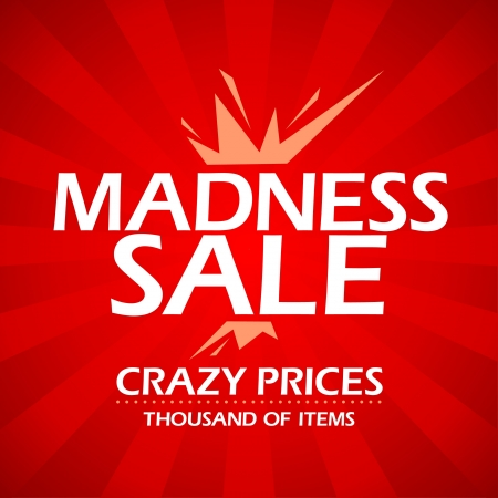 Madness sale red banner in retro style. Vector