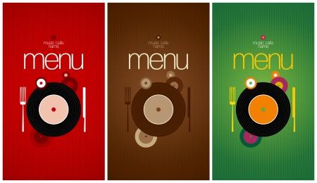 Music Cafe Menu Card Design template.  Vector