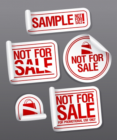 only: Sample not for sale stickers for free products. Illustration