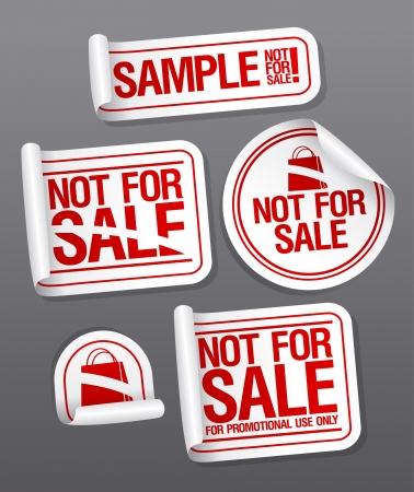 Voorbeeld niet te koop stickers voor gratis producten. Vector Illustratie