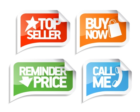 Seller speech bubbles set for online markets.  Vector