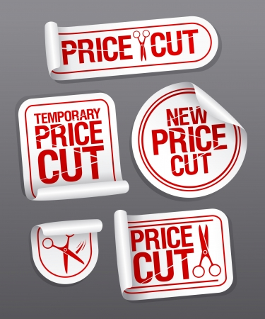 ollection: Price cut sale stickers. Illustration