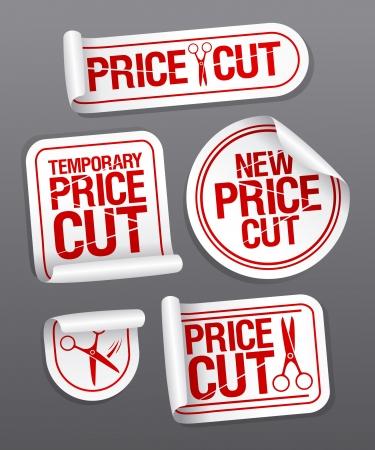 cut price: Price cut sale stickers. Illustration