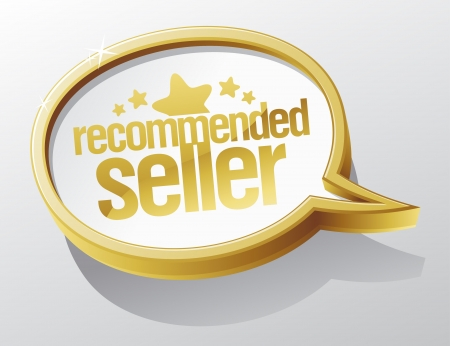 recommended: Recommended seller shiny speech bubble.