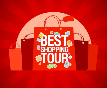 Best shopping tour design template with paper bags. Stock Vector - 19492245