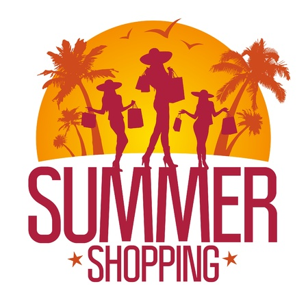 Summer shopping design template with fashion girls silhouette against tropical view.  Vector