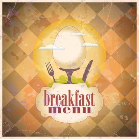 Menú de desayuno plantilla de diseño de tarjeta retro.