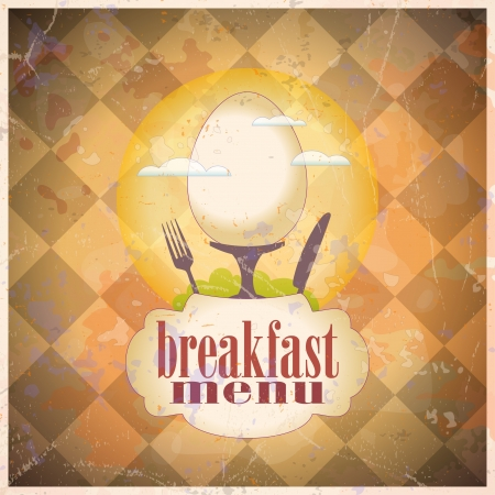 continental food: Retro breakfast menu card design template.  Illustration