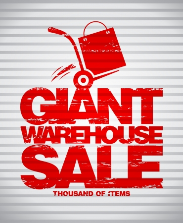storage warehouse: Giant warehouse sale design template with hand truck.