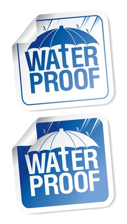 Waterproof stickers set. Vector