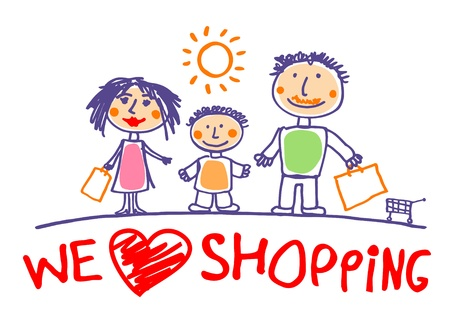 We love shopping hand drawn illustration with happy family. Vector