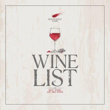 wine list: Wine List Menu Card Design template. Illustration