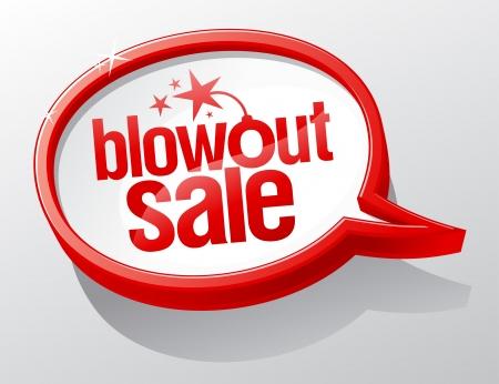 sale icons: Blowout sale shiny glass speech bubble