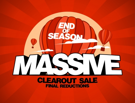 Massive sale design template with balloons carrying shopping bags