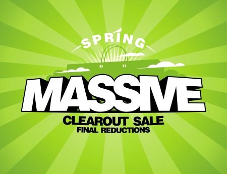 Massive voorjaar verkoop design template met boodschappentas