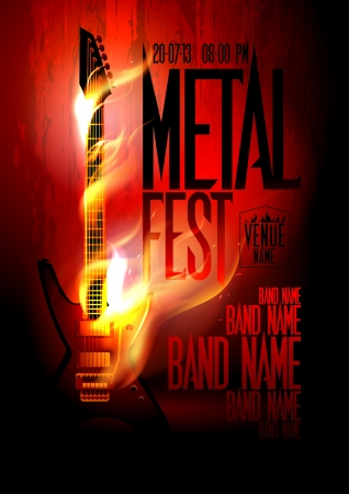 Metal fest design template with guitar in flames and place for text  Eps10 Vector